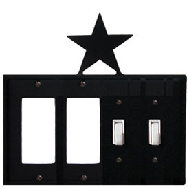 Wrought Iron Star Combination Cover - Double GFI Left with Double Switch Right