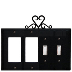 Wrought Iron Heart Combination Cover - Double GFI Left with Double Switch Right