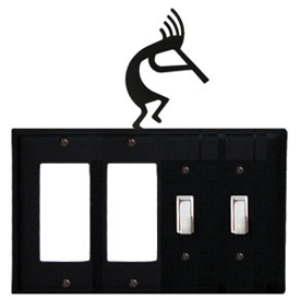 Wrought Iron Kokopelli Combination Cover - Double GFI Left with Double Switch Right