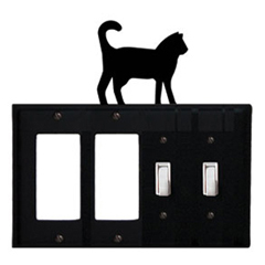 Wrought Iron Cat Combination Cover - Double GFI Left with Double Switch Right