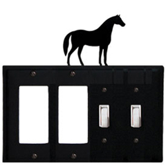 Wrought Iron Horse Combination Cover - Double GFI Left with Double Switch Right