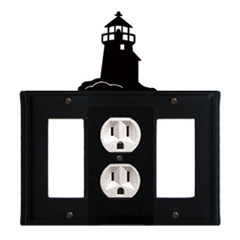 Wrought Iron Lighthouse Combination Cover - Single Center Outlet with Left and Right GFI