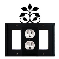 Wrought Iron Leaf Fan Combination Cover - Single Center Outlet with Left and Right GFI