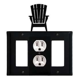 Wrought Iron Adirondack Combination Cover - Single Center Outlet with Left and Right GFI