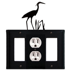 Wrought Iron Heron Combination Cover - Single Center Outlet with Left and Right GFI