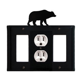 Wrought Iron Bear Combination Cover - Single Center Outlet with Left and Right GFI