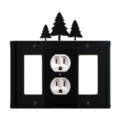 Wrought Iron Pine Trees Combination Cover - Single Center Outlet with Left and Right GFI