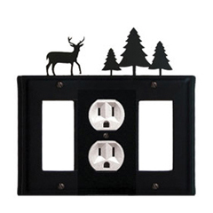 Wrought Iron Deer Combination Cover - Single Center Outlet with Left and Right GFI Pine Trees