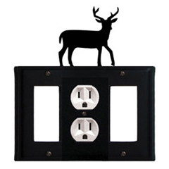 Wrought Iron Deer Combination Cover - Single Center Outlet with Left and Right GFI