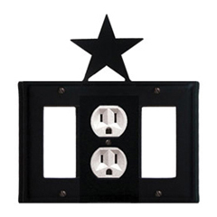 Wrought Iron Star Combination Cover - Single Center Outlet with Left and Right GFI