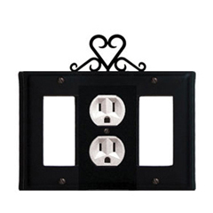 Wrought Iron Heart Combination Cover - Single Center Outlet with Left and Right GFI