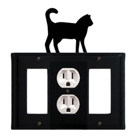 Wrought Iron Cat Combination Cover - Single Center Outlet with Left and Right GFI
