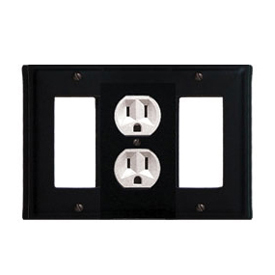 Wrought Iron Plain Combination Cover - Single Center Outlet with Left and Right GFI