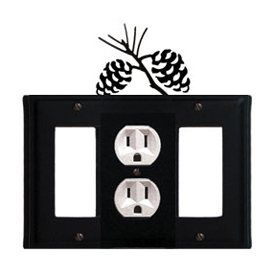 Wrought Iron Pinecone Combination Cover - Single Center Outlet with Left and Right GFI