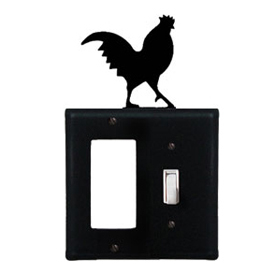 Wrought Iron Rooster Combination Cover - Single GFI with Single Switch