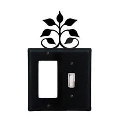 Wrought Iron Leaf Fan Combination Cover - Single GFI with Single Switch
