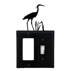 Wrought Iron Heron Combination Cover - Single GFI with Single Switch