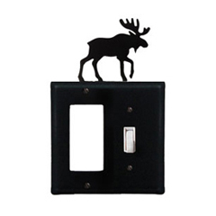 Wrought Iron Moose Combination Cover - Single GFI with Single Switch