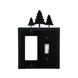 Wrought Iron Pine Trees Combination Cover - Single GFI with Single Switch