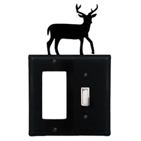 Wrought Iron Deer Combination Cover - Single GFI with Single Switch
