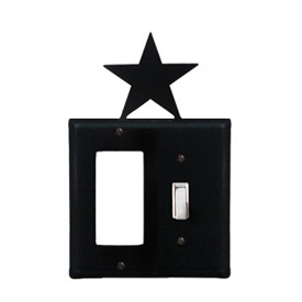 Wrought Iron Star Combination Cover - Single GFI with Single Switch