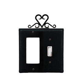 Wrought Iron Heart Combination Cover - Single GFI with Single Switch