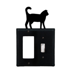 Wrought Iron Cat Combination Cover - Single GFI with Single Switch