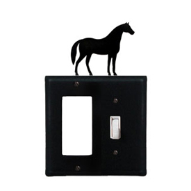 Wrought Iron Horse Combination Cover - Single GFI with Single Switch