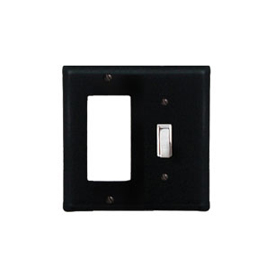 Wrought Iron Plain Combination Cover - Single GFI with Single Switch