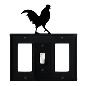 Wrought Iron Rooster Combination Cover - Single Center Switch with Left and Right GFI
