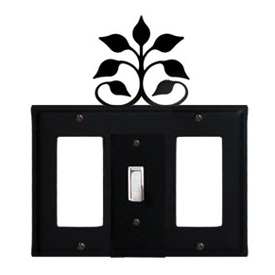 Wrought Iron Leaf Fan Combination Cover - Single Center Switch with Left and Right GFI