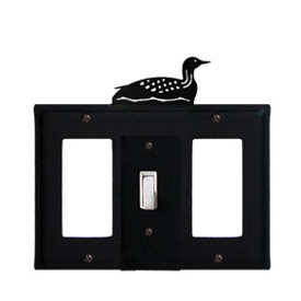 Wrought Iron Loon Combination Cover - Single Center Switch with Left and Right GFI