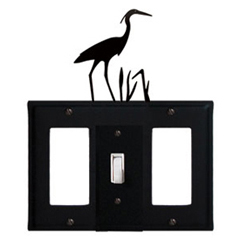 Wrought Iron Heron Combination Cover - Single Center Switch with Left and Right GFI