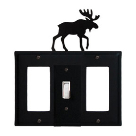 Wrought Iron Moose Combination Cover - Single Center Switch with Left and Right GFI