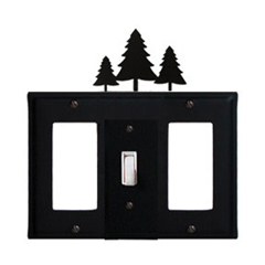 Wrought Iron Pine Trees Combination Cover - Single Center Switch with Left and Right GFI
