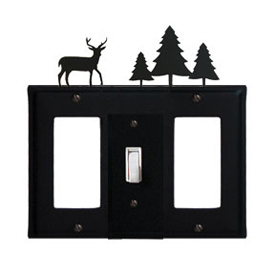 Wrought Iron Deer Combination Cover - Single Center Switch with Left and Right GFI Pine Trees