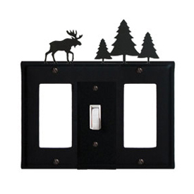 Wrought Iron Moose Combination Cover - Single Center Switch with Left and Right GFI Pine Trees