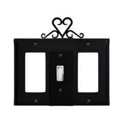 Wrought Iron Heart Combination Cover - Single Center Switch with Left and Right GFI