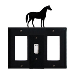 Wrought Iron Horse Combination Cover - Single Center Switch with Left and Right GFI