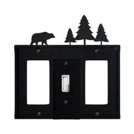 Wrought Iron Bear Combination Cover - Single Center Switch with Left and Right GFI Pine Trees