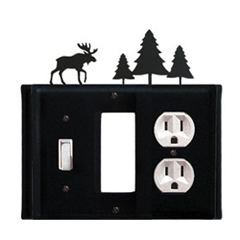 Wrought Iron Moose Combination Cover - Switch, GFI and Outlet Pine Trees