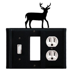 Wrought Iron Deer Combination Cover - Switch, GFI and Outlet