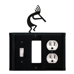 Wrought Iron Kokopelli Combination Cover - Switch, GFI and Outlet