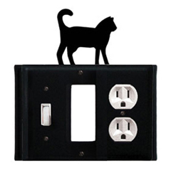 Wrought Iron Cat Combination Cover - Switch, GFI and Outlet