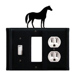 Wrought Iron Horse Combination Cover - Switch, GFI and Outlet