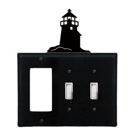 Wrought Iron Lighthouse Combination Cover - Single GFI with Double Switch
