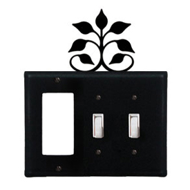 Wrought Iron Leaf Fan Combination Cover - Single GFI with Double Switch