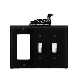 Wrought Iron Loon Combination Cover - Single GFI with Double Switch