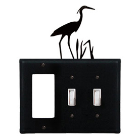 Wrought Iron Heron Combination Cover - Single GFI with Double Switch