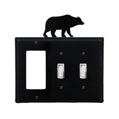 Wrought Iron Bear Combination Cover - Single GFI with Double Switch